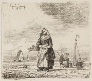 Vissersvrouw op het strand, Linning, Egidius (1821-1860), Teylers Museum Haarlem
